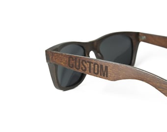 Personalized Sunglasses - Custom Engraved Wood Sunglasses - Mens sunglasses Groomsmen sunglasses groomsmen - Custom Eyewear