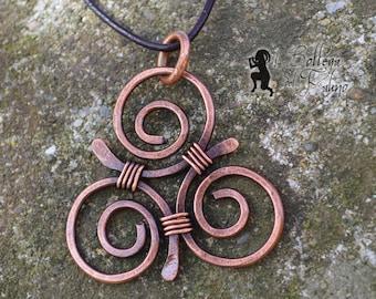 Celtic Triskelion, Handmade copper pendant