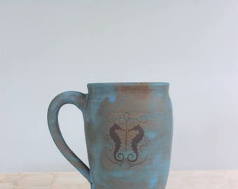 Seahorse beer stein | Turquoise earthenware mug with vintage image