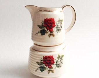 Vintage Sadler creamer and sugar bowl, Sugar bowl and creamer with Red Roses, Vintage sugar and creamer, Vintage creamer