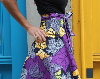 African Wrap Skirt Midi - Cherno Wrap - Purple - Wax Print Skirt - Colourful Wrap Skirt - African Skirt - Summer Skirt - African Print Skirt