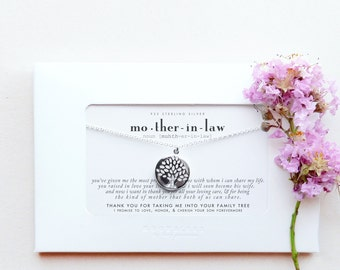 Mother-in-Law | Mother In Law Wedding Thank You Gift From Bride to Groom's Mother Family Tree of Life Sterling Silver Necklace Poem Message