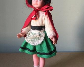 Knickerbocker Little Red Riding Hood plastic doll 1970s