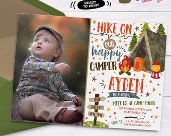 Camping Birthday Photo invitation DIY Camp out printable invite - Camping sign birthday decorations Tent Camping birthday party invitations