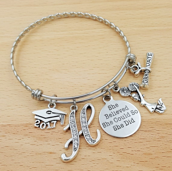 Graduation Gift Senior 2017 Cheerleading Gifts Senior Gifts Class of 2017 Graduate Cheer She Believed She Could So She Did Graduate Bracelet