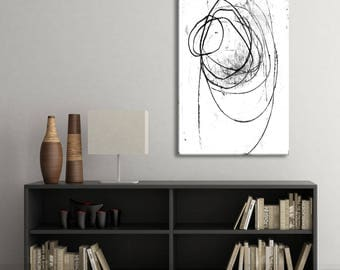 Large Abstract Painting Canvas Giclee Print, Modern Contemporary Art, Black and White Gritty Raw Urban Style Scribble, Oversized Wall Art