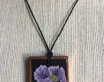 Purple flower necklace, Mothers day gift, Spring jewelry, Handpainted copper pendant, Purple statement necklace, Unique gift for her