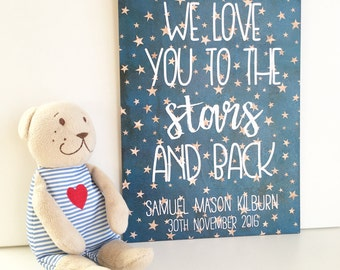 Star Nursery Plaque, Love You To The Stars And Back, Star Theme Birth Announcement Plaque, New Baby Gift, Twinkle Stars Wall Art, Baby Name