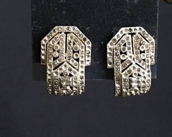 Art Deco sweater dress clips silver rhinestone vintage retro antique