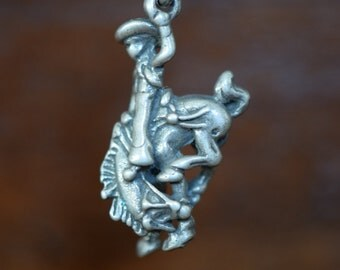 Rodeo Cowboy Charm - Sterling Silver - FREE SHIPPING within USA - itemS5