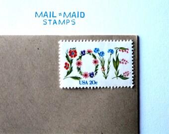 Vintage Love Stamps || set of 10 unused postage stamps