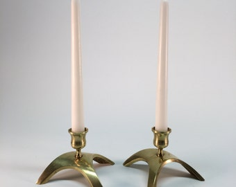 SALE- Brass curved candleholders