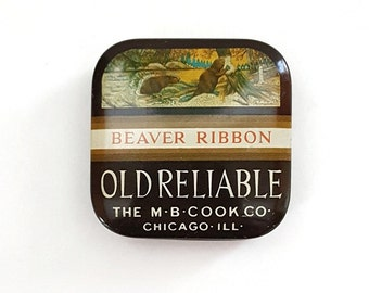 Old Reliable Beaver Ribbon Tin M.B. Cook Co. Chicago