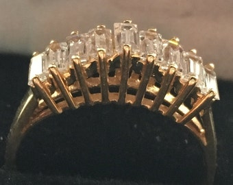 Clearance Sale! 10K Antique Estate Cubic Zirconia Yellow Gold Ring