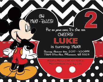 Mickey Mouse Second Birthday Invitation, 5x7