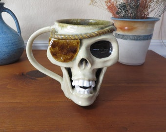 Stoneware Pottery Skull Mug, Coffee Mug, Wheel Thrown Mug, Dia De Los Muertos, Skull Mug, Pottery Mug