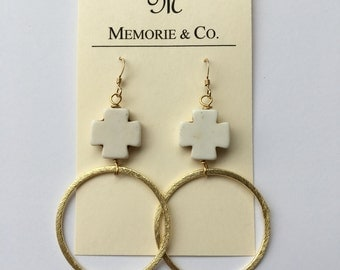 SUMMER SALE | Gold Hoop Earrings with White Magnesite Crosses