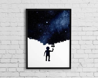 Astronomy art print, Instant download art, Space art, Outer space decor, Astronomy gift, Digital illustration, Prints wall art
