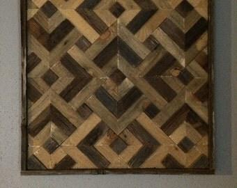 Natural Geometric Diamonds Reclaimed Wood Wall Art SALE!!!