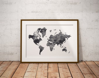 Printable world map etsy watercolor world map watercolor art map art sciox Gallery