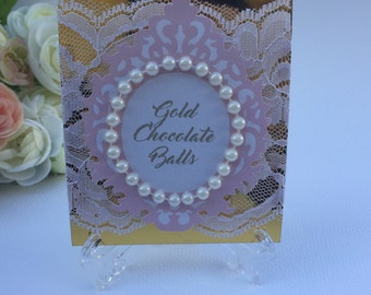 4 Gold and pink candy buffet labels with stands, gold foil candy tags, dessert table signs, pink and gold candy tags