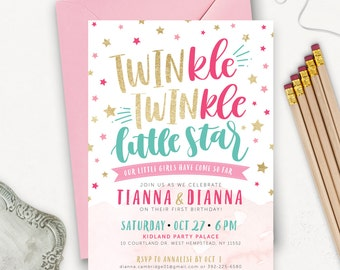 Twin Birthday Invitations / Twinkle Twinkle Little Star First Birthday Invitation Printable / Pink Teal Gold Glitter Invites