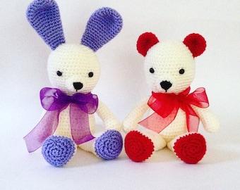 Amigurumi, crochet Bear, crochet Bunny, gift for kids, plush bear, plush bunny, birthday gifts, gifts for her / him, Best friend's gift