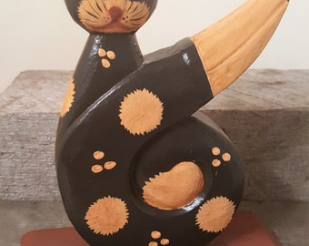 Sweet Hand Painted Wood Cat Indonesian Kitten Cat Lovers delight Vintage