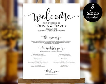 Wedding Program Sign Template, Printable Wedding Program, Wedding Program Poster, Program Sign, PDF Instant Download, Editable Sign