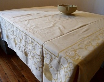 Great Vintage Frette Tablecloth   Italian Damask Weave Cotton   Large Yellow  Tablecloth   64 Inches Square