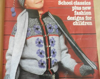 Vintage Phildar childrens winter knitting magazine no 84 from 1981, patterns for jumpers, cardigans, tank tops, dresses, waistcoats, jackets