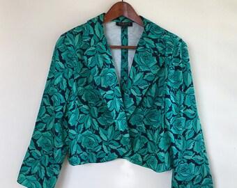 Vintage cotton green rose floral crop blazer