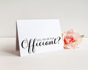 ... CardOfficiant Ask Card with Metallic Envelope Wedding Stationery