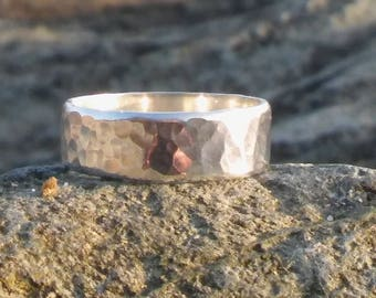 Sterling Silver ring, Sterling Silver wedding ring, Silver ring, Hammered ring, 25th Wedding Anniversary ring, Renew the Wedding vows ring