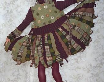 Woodland- Katwise inspired upcyled sweater coat, Patchwork pixie coat- MEDIUM