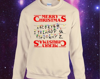 Stranger Things inspired Christmas Jumper Sweatshirt Xmas Upside Down Lights Cult Eleven