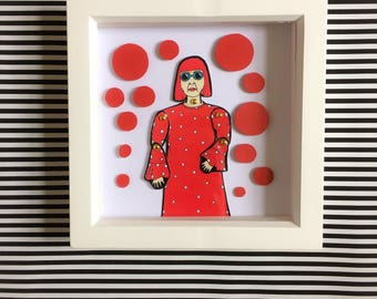 Beautiful framed Yayoi Kusama framed paper doll. Perfect gift for art lovers. All frames come signed and wrapped ready for gifting. Wall art