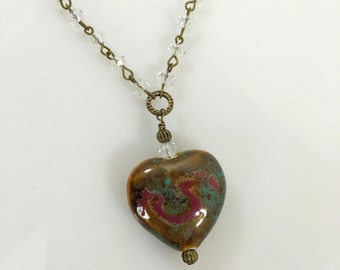 Heart Pendant Necklace Hand Painted Stone/Antique Bronze Vintage Chain/Crystal Bead Chain/Antique Bronze Scroll Beads/Short Chain Necklace