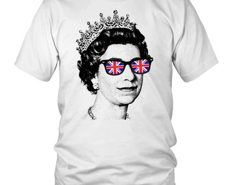 Cool Queen T-shirt, Elizabeth II, Queen of the United Kingdom, God Save the Queen, Political Tee, Shirt by Egoteest Unisex up to 5XL