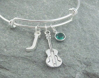 Violin bracelet, violinist gift, violin player, initial bracelet, swarovski birthstone, personalized jewelry, music jewelry, silver bangle