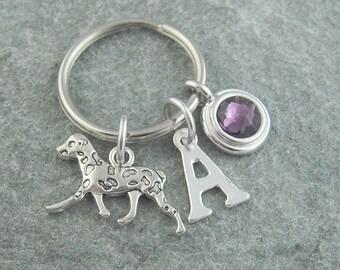 Dalmatian keychain, dalmatian keyring, dog keychain, initial keychain, birthstone keychain, personalized keyring, custom keychain, monogram