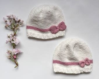 Knit baby hat with bow, baby girl hat with bow, pink and white knitted hat, newborn photo prop hat, classic baby hat, cotton baby hat