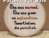 Pattern - She Persisted Cross Stitch