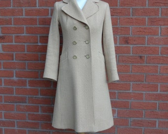 Yellow 1960s Vintage Coat   Vintage Frock Coat   Double Breasted Coat   Yellow 1960s Long Jacket   Size Small UK10 US6