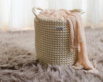 Cream handmade storage basket, toy basket, home decor, rope crochet basket