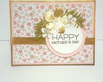 Happy Mothers Day Pink & Gold Card, Mothers Day Card, Handmade Greeting Card
