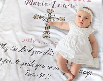 Personalized Christening Blanket - Baptism Blanket - Christening Gift for Girls - Baptism Gift Girl - Custom Baby Blanket - Newborn Gift
