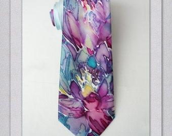 Mens Necktie Men's SILK Tie Silk Tie Blue tie Wedding Tie Mens tie Mens Gifts Hand Painted Tie Handpainted Tie Silk Necktie Father gift art