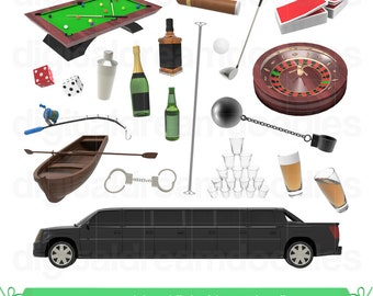 Bachelor Party Clipart, Stag Party Clip Art, Limousine Limo PNG, Ball Chain Image, Cigar Graphic, Stag Night Scrapbook, Digital Download