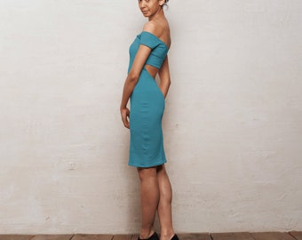 SALE Smouldering Elegant Bardot Bodycon Dress in Teal Blue Green. Christmas Party Dress, Special Occasion Fitted Stretch Strapless Dress